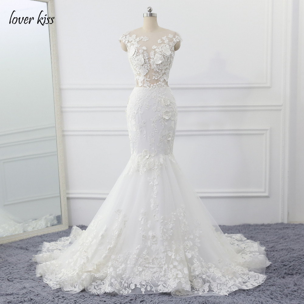 Lover Kiss Robe de Mariage 3D Flowers Wedding Dress Sexy Mermaid Lace Wedding Bridal Gowns See