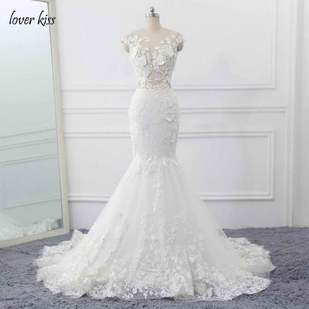 Amante Bacio Robe de Mariage 3D Fiori Abito Da Sposa 2019 Sexy Del Merletto Della Sirena Da Sposa Abiti Da Sposa Vedere Attraverso Vestido de noiva