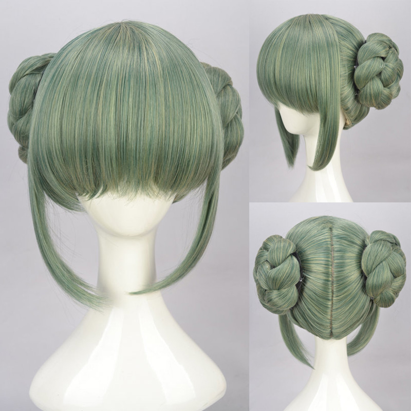 Hot Sell!  Grand Chase Ning Meng double buns split modeling section cosplay wig