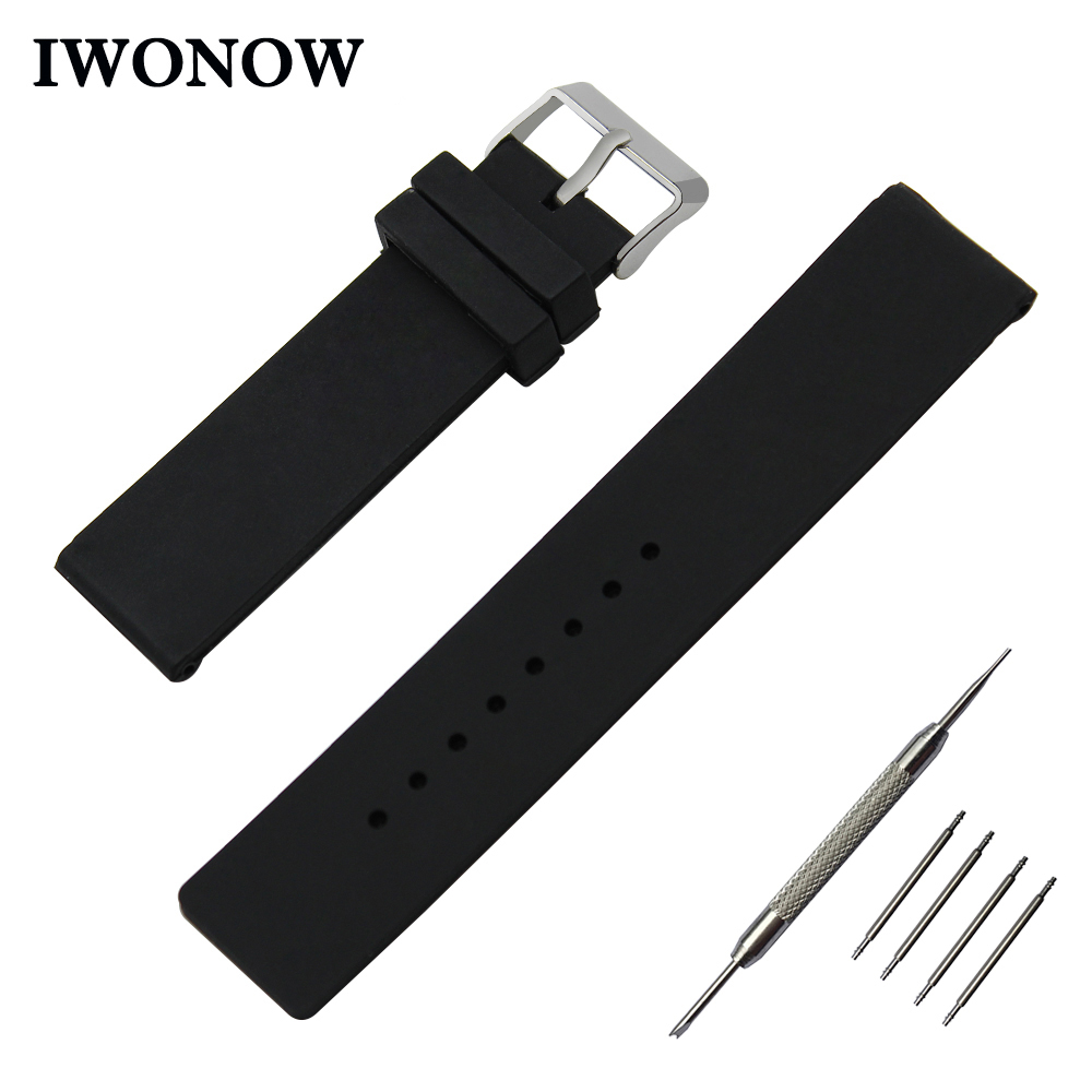 Silicone Rubber Watch Band 24mm for Suunto TRAVERSE Stainless Pin Buckle Strap Wrist Belt Bracelet Black White + Spring Bar silicone rubber watch band 23mm 24mm for tissot 1853 t035 stainless steel safety buckle strap wrist belt bracelet spring bar