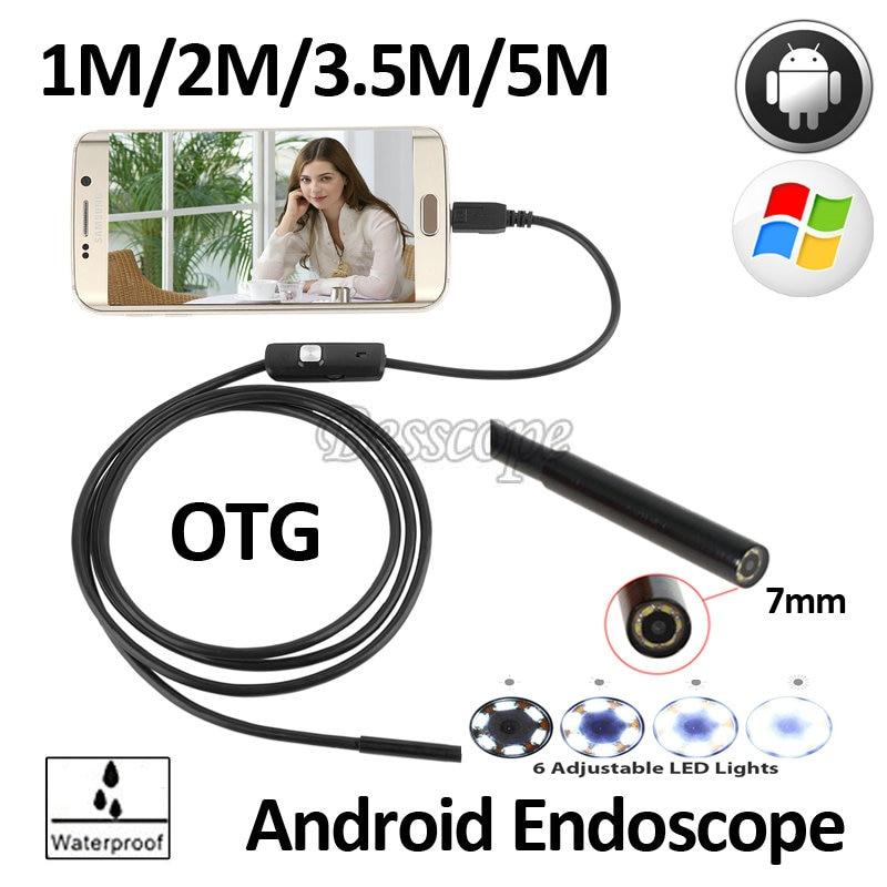7mm 1 M 1.5 M 2 M 3.5 M 5 M Android OTG USB Endoscope caméra Android Smart Mobile Téléphone USB Endoscope Serpent D'inspection USB caméra