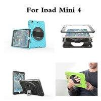 สำหรับApple iPad Mini 4ฮาร์ดกลับกรณี360หมุนจับแถบยืนเด็กปลอดภัยฝาครอบป้องกันสำหรับiPad Mini4 7.9 ''แท็บ