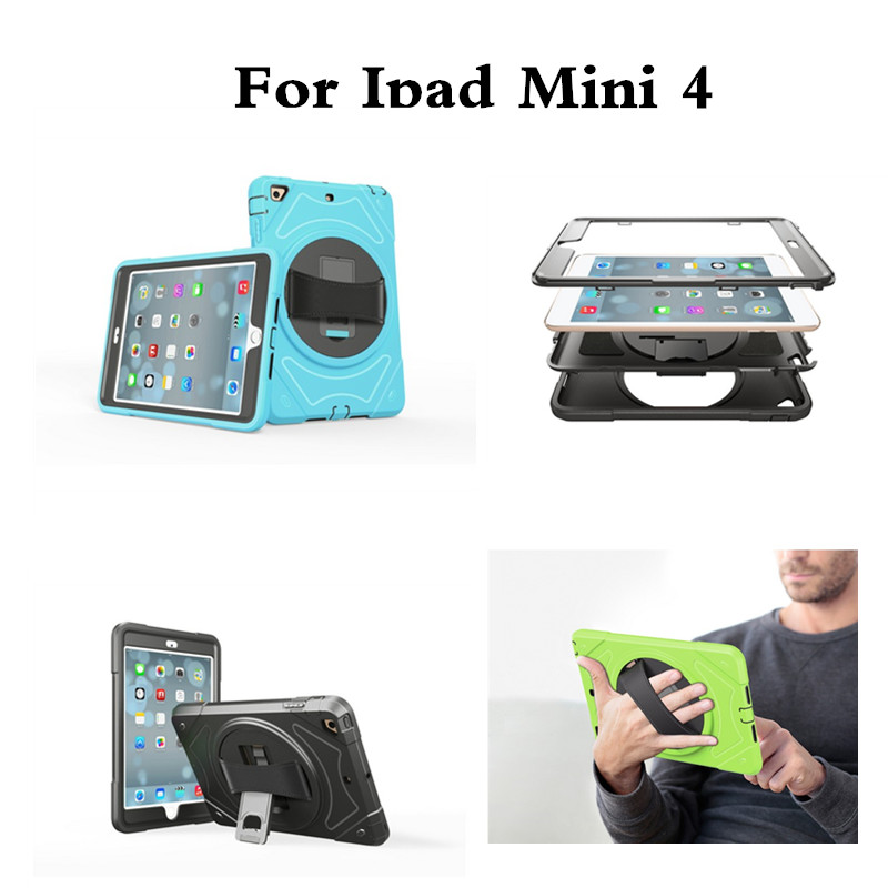 For Apple iPad Mini 4 Hard back Case 360 Rotating Handle Strip Stand Kids Safe Cover Protective for iPad Mini4 7.9'' Tablet PC for ipad mini4 cover high quality soft tpu rubber back case for ipad mini 4 silicone back cover semi transparent case shell skin