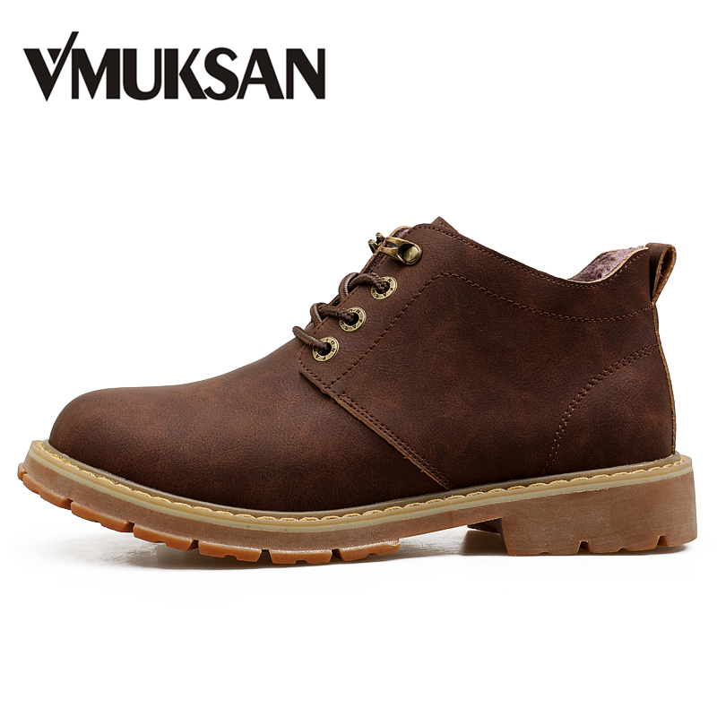 VMUKSAN Hot Sale Men Boots Fashion Lace Up Mens Winter Boots High Quality Designer Furry Snow