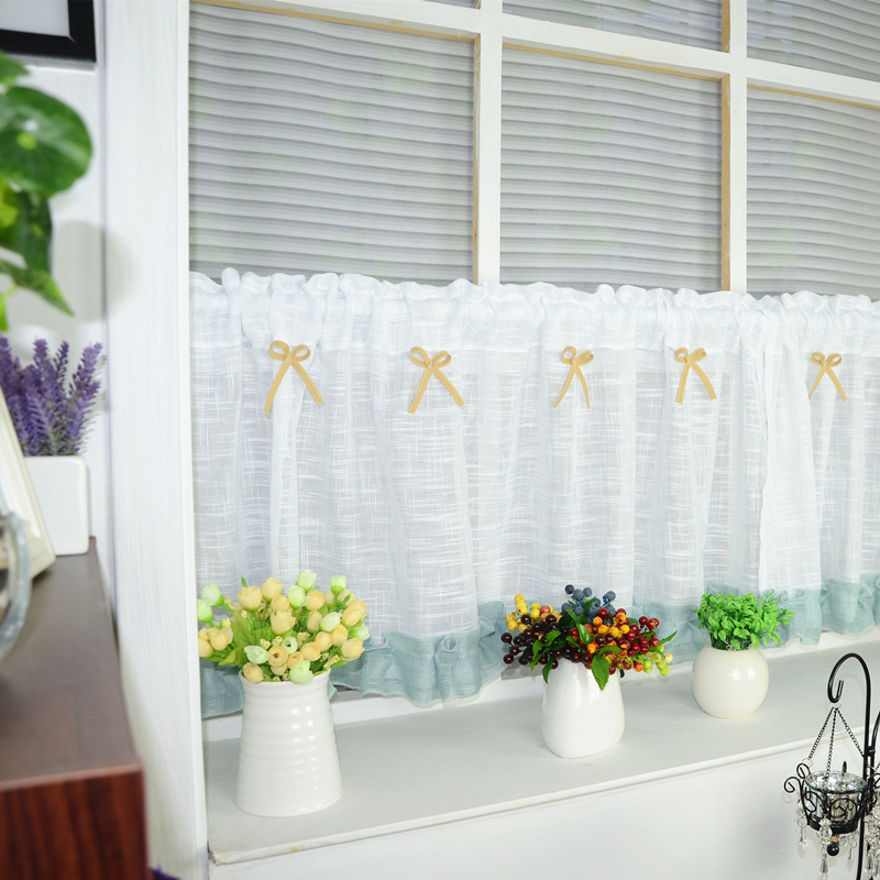 US $9.8 30% OFF|ZHH Rimantic Style Kitchen Half curtain Kitchen Curtain  Coffee Short Panel Curtain Roman Curtain with Lace and Bow knot 4 Colors-in  ...