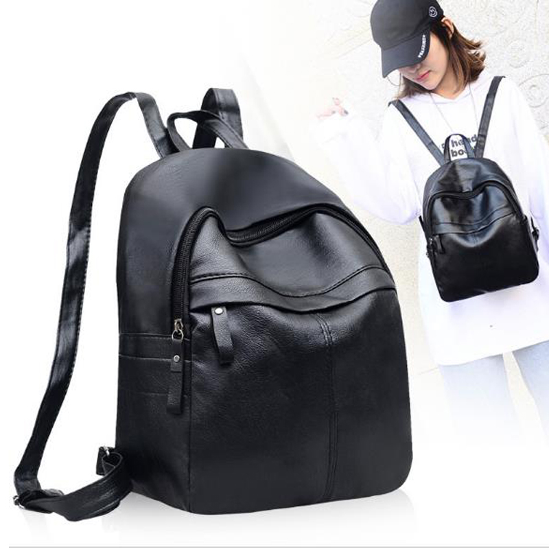 GALGALYI 2018 Fashion Travel Light Portable backpack female High Quality PU Leather Backpacks Women Black Shoulder Backpack