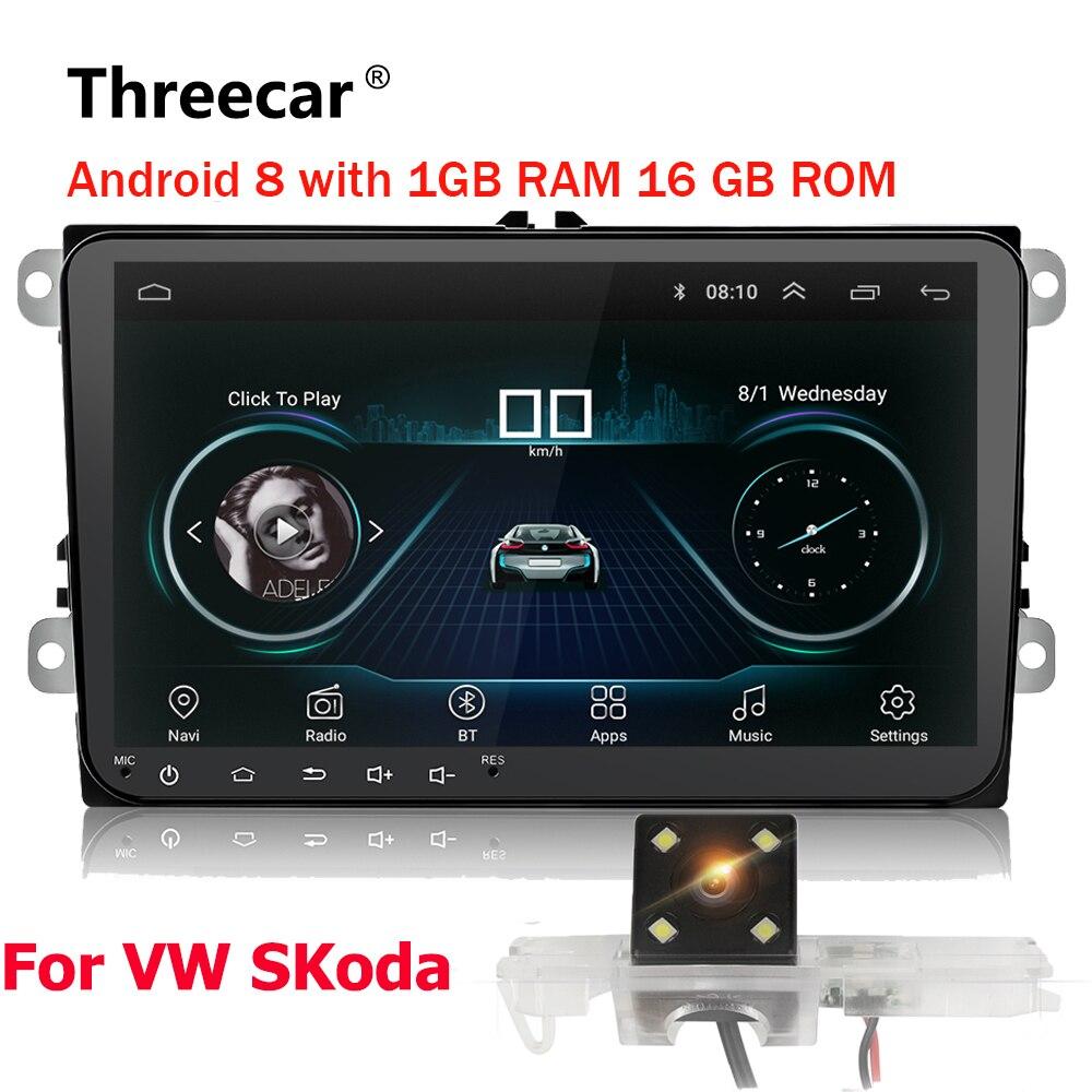 Double 2Din autoradio Android 8 GPS Navigation De Voiture DVD Lecteur 9 ''Pour Golf Polo Passat Beetle Touran Wifi bluetooth 2 din Radio