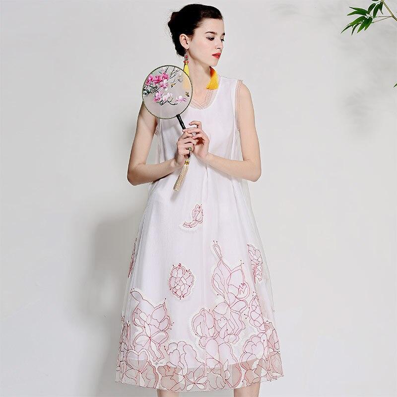 Women beautiful dresses summer vintage royal embroidery floral elegant lady loose sleeveless organza silk party dress M-XL цена
