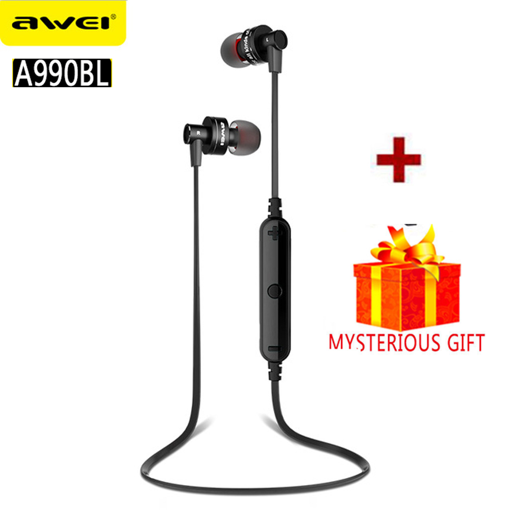 Awei A990BL Stereo Sport Auriculares Bluetooth Headset Earphone For In Ear Phone Bud Cordless Wireless Headphone Earbud Earpiece 2 in 1 mini bluetooth headset phone usb car charger auriculares micro earpiece kopfhorer wireless earphone for samaung galaxy s7