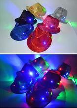 Adulto Mujeres Hombres Fedora Lentejuelas de Luz LED Parpadeante Hasta Jazz Cap Hip Hop Sombreros Tapa Sombrero de Fiesta de Cumpleaños Fiesta de Navidad de La Boda