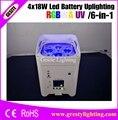 4 шт./лот 4x18 Вт 6в1 батарея питания LED Par свет Uplight DMX