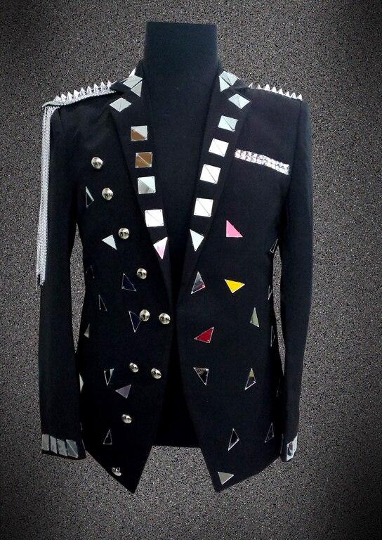 2017, Мужской Блейзер, пиджак, верхняя одежда, мужская одежда, белый, черный цвет, для певицы, танцовщицы, для выступлений, для жениха, вечерние, для шоу, на Рождество - 2