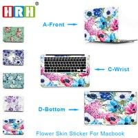 SAR 3 En 1 Fleur Vinyle Decal Sticker pour Ordinateur Portable pour Macbook Air Pro Retina 11 12 13 15 Pouce Peau Ordinateur Portable pour Macbook Air 13 Autocollant