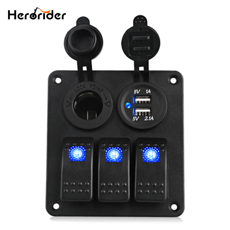 Herorider Marine Boat Car Switch Panel 3 Gang with Cigarette Socket Dual USB Slot Blue LED light On/Off Rocker Switch Panel Car