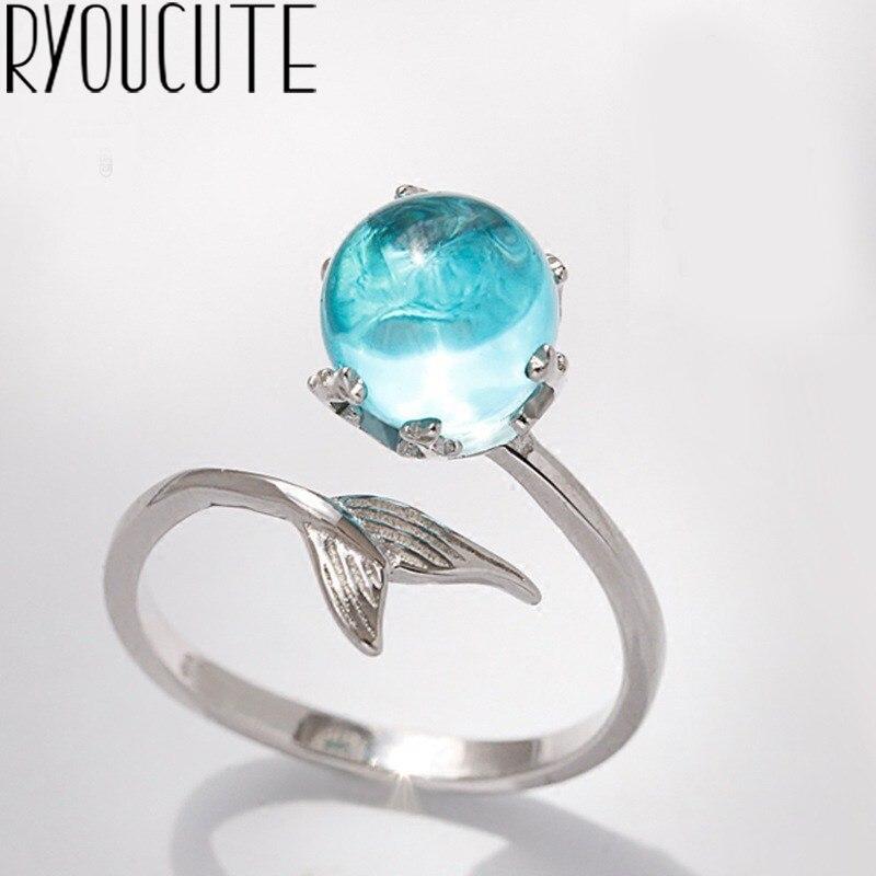 Женское кольцо с хвостом русалки, эффектное ювелирное изделие, кольцо с рыбой