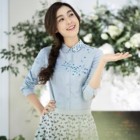 INMAN 2017 Spring New Literary Style Embroidered All Match Long Sleeves Shirt Women Blouse