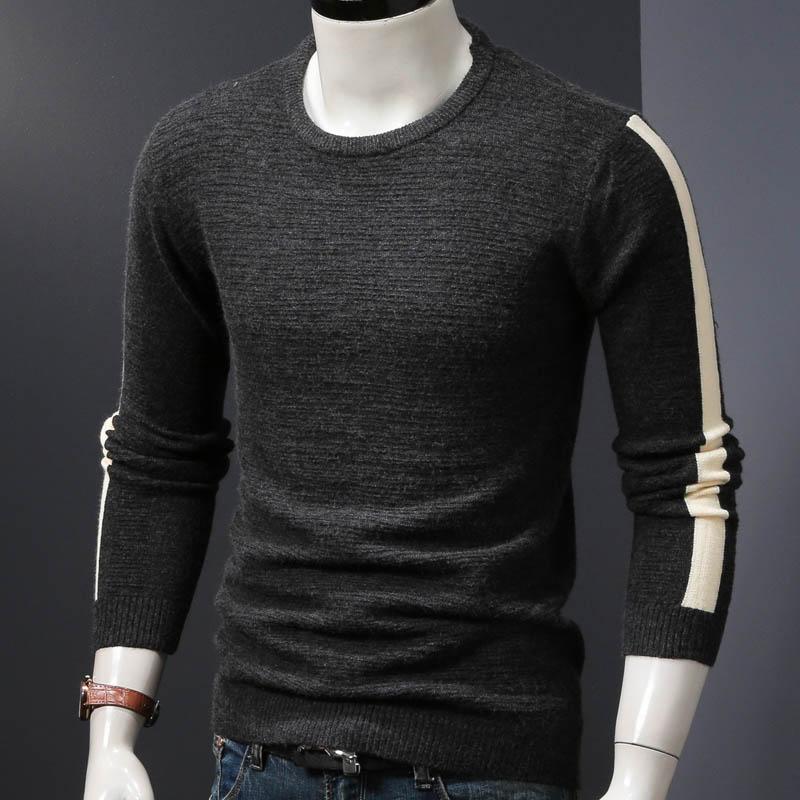 Мужской зимний свитер вязаный пуловер Свитера Осень и весна тонкие мужские топы tide man Одежда - Цвет: black