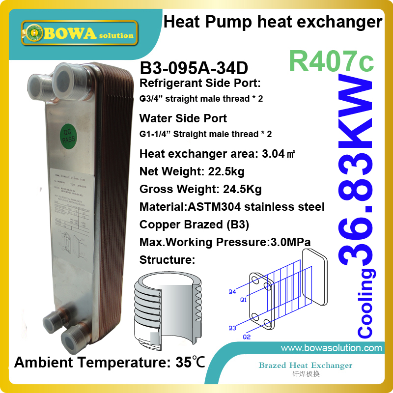10.5TR cooling capacity R407c to water stainless steel PHE for water chiller evaporator, replacing API heat exchanger 27kw cooling capacity stainless steel plate heat exchanger is working as evaporator in geothermal water source heat pump units