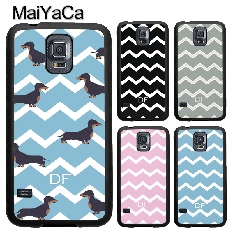 MaiYaCa PERSONALISED INITIALS CHEVRONS DACHSHUND TPU Case For Samsung Galaxy S9 S8 Plus S4 S5 S6 S7 Edge Note 8 Cover Back Case