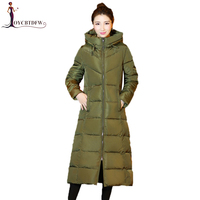 Autumn Women Large Size M 3XL Army Green Hooded Cotton Coat 2018 Winter New Women Fashion Long Slim Thick Cotton coat Lady NO282