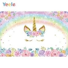 Yeele Rainbow Unicorn Flower Birthday Scene Photography Background Children Customize Photographic Backdrop For Photo Studio