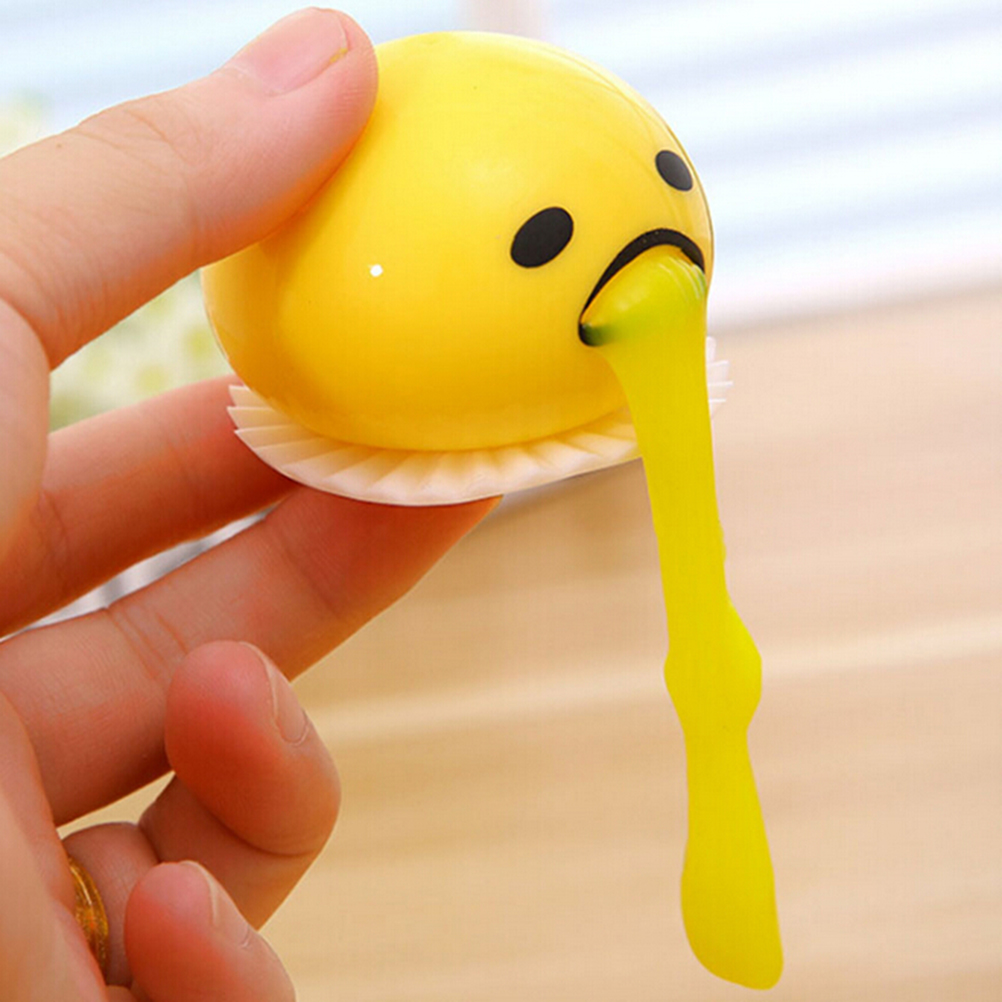 Single Sale Novelty Gag Squishy Toy Egg Yolk Anti Stress Reliever Creative Gift Yellow Egg Vomit Joke Ball Squeeze Funny Toys