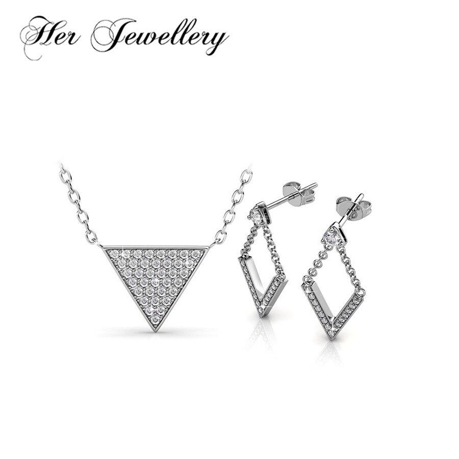 Son ensemble de bijoux en cœur pour femmes en laiton de qualité avec boucles d'oreilles et collier en cristaux de Swarovski HS102