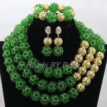 Nigerian Green Wedding Crystal Beads Balls Necklace Set Gold Plated Women Costume Chunky African Jewelry Free Shipping ABK857