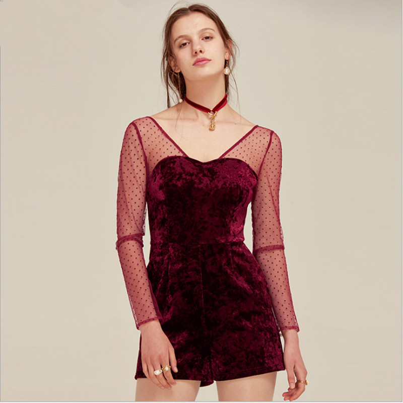 Sexy women jumpsuits & rompers elegant red velvet playsuits with dot lace top jumpers European and American style for ladies