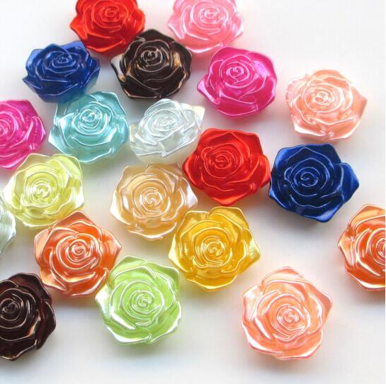 Assorted 100pcs Rose Flower Resin Flat Back Flatbacks Loose Bead From 8 to 14mm
