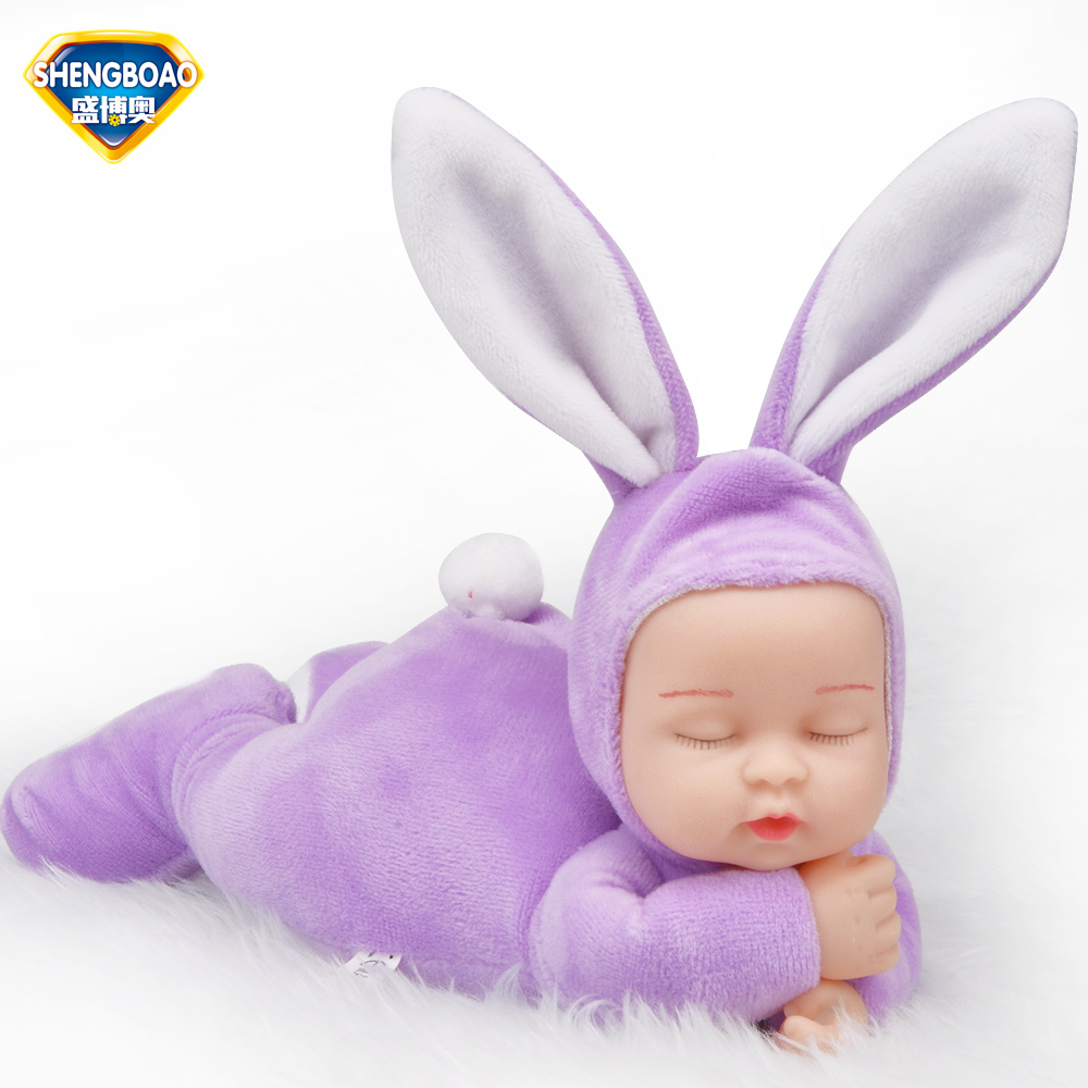 Cute 25CM Simulated Babies Sleeping Dolls Rabbit Plush Stuffed Baby Doll Children Toys Birthday Gift For Babies doll reborn 1pc 45cm lovely rabbit plush pillow stuffed cute animal toys dolls kawaii soft kids baby sleeping doll creative birthday gift