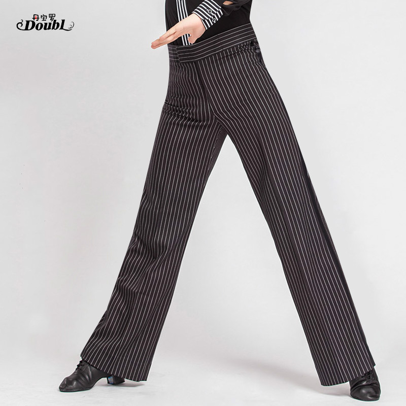 Male Dance Practice Pants Men Latin Ballroom Dance Performance Trousers Square Modern National Standard Stripe Costumes
