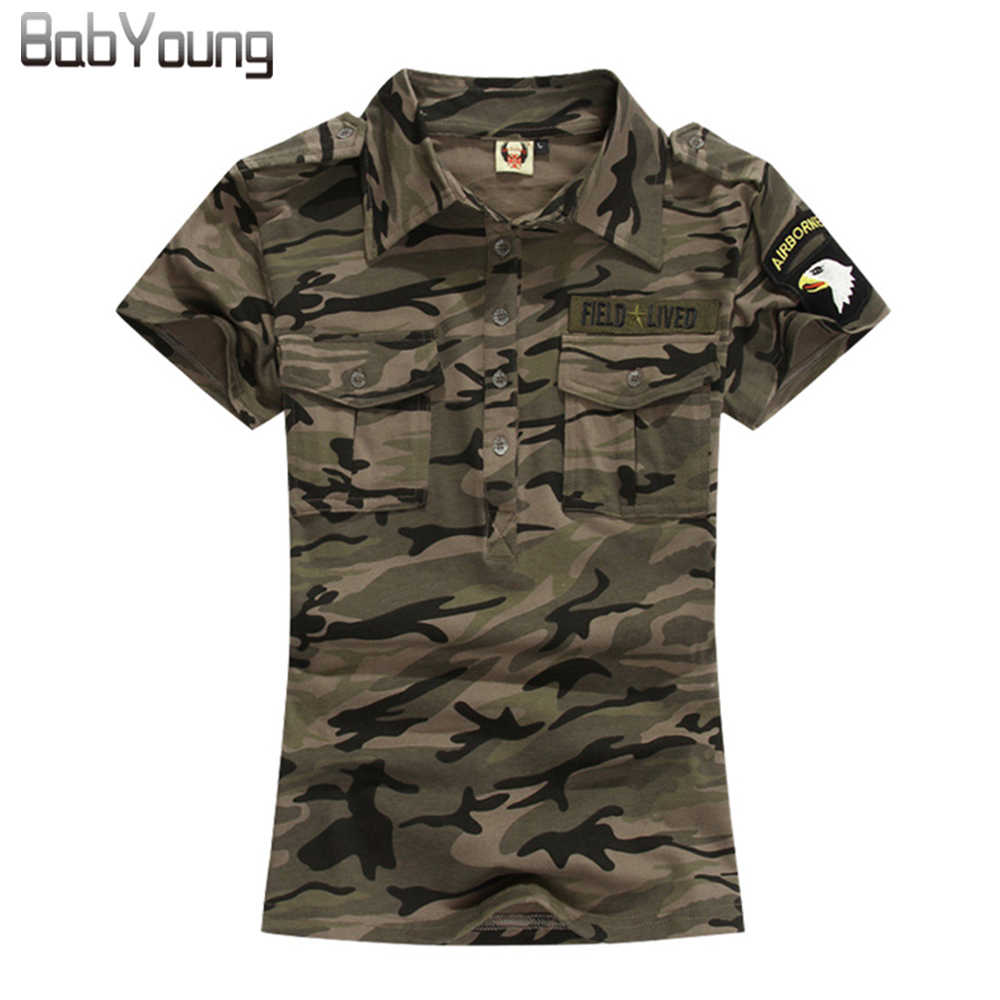BabYoung 2017 Summer Casual Polo Women Tops Camouflage Army Cotton Shirts Polo Femme Polos Mujer Short Sleeve Shirt M~5XL