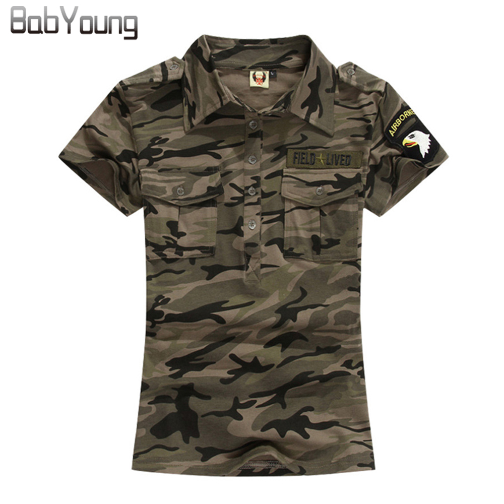 BabYoung Summer Casual Polo Feminina Wanita Tops Camouflage Shirt Cotton Army Polo Femme Polos Mujer Short Sleeve Shirt M ~ 5XL
