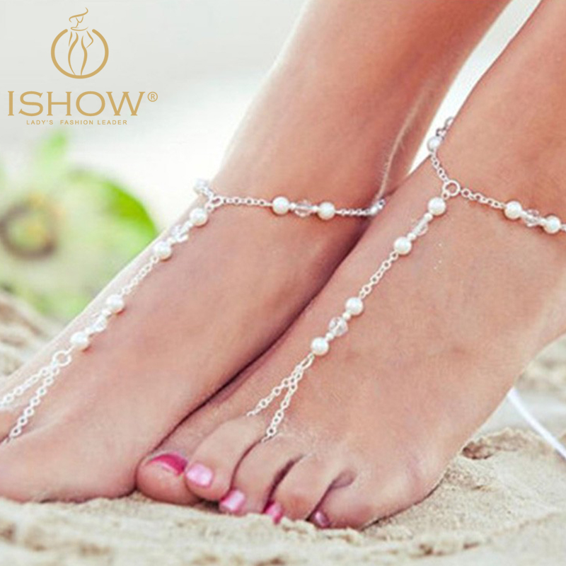 2016 Fashion bijoux de pied femme silver plated ankle chain foot jewelry pearl anklet for woman