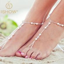 2016 Мода bijoux de pied femme посеребренная лодыжки цепи ног ювелирные изделия pearl браслет для женщины босиком сандалии ювелирные изделия