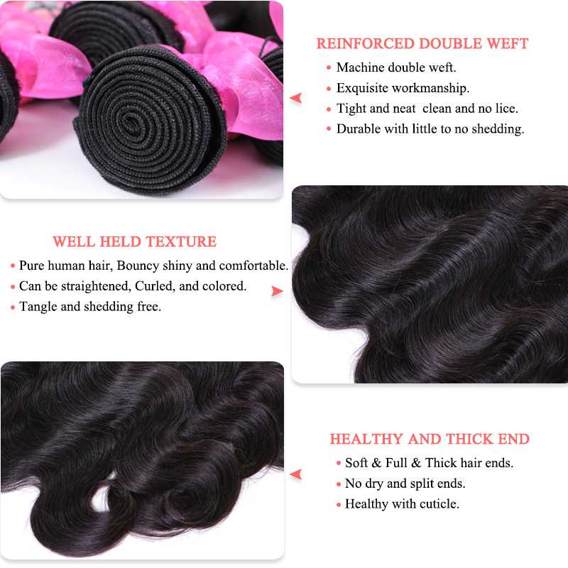 Queen Hair Products Brazilian Body Wave Human Hair 3 Bundles Weaves - Menneskehår (sort) - Foto 3