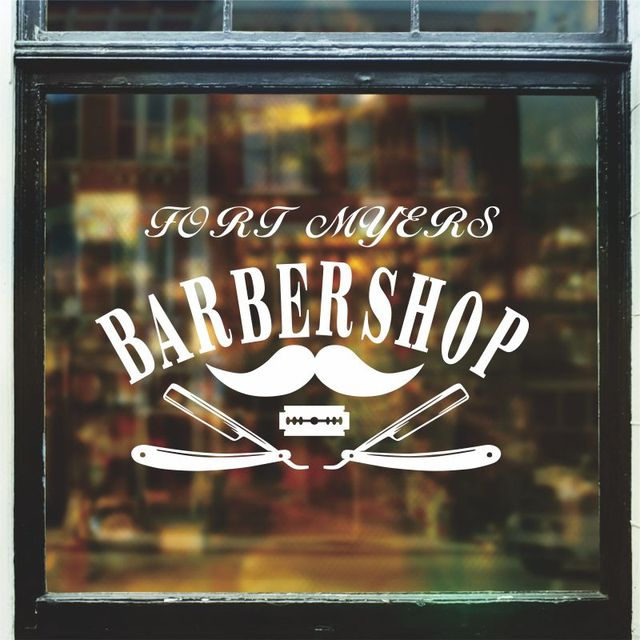 Hombre Barbero tienda pegatina tiempo nombre cortar pan etiqueta carteles de corte de pelo vinilo pared arte decalques Ventanas decoración mural41