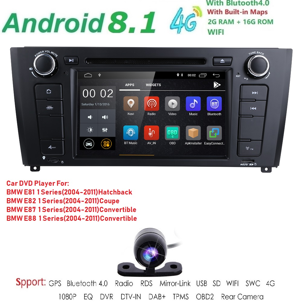 71 Din Android 8.1 Quad Core Car Radio GPS Navi Car DVD Player For BMW 1 Serie E81 E82 E87 E88 I20 2004 2011 Head Unit BT Wifi