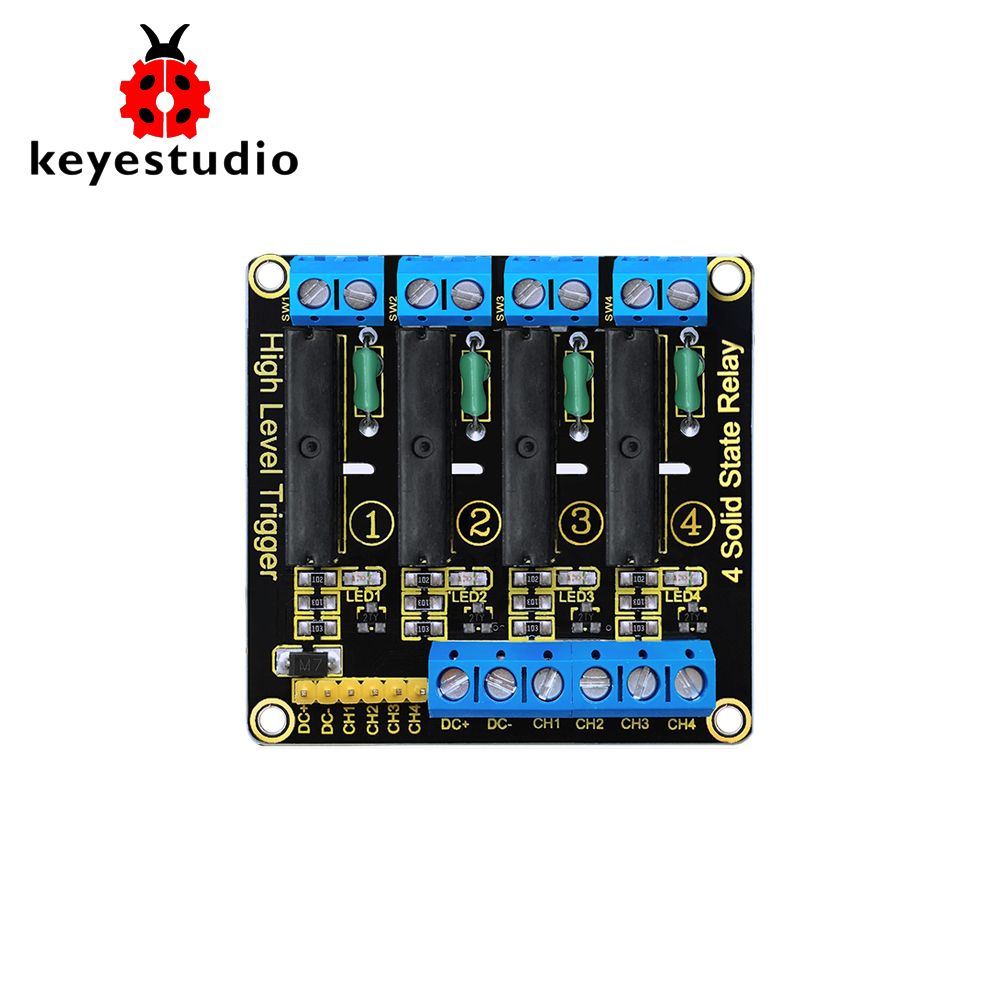 Keyestudio 5v 2a 4 Channel Solid State Relay Module High Level Dc 1 Board Fuse For Omron Relays 240v Output With Resistive 2 Size 57 55 23 L W H 3 The Input Power Supply 5vdc