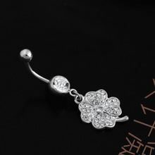 Clover St.Patrick Day White Clear Navel Belly Button Ring Barbell Silver Dangle Belly Ring Rhinestone Ball Body Piercing Jewelry