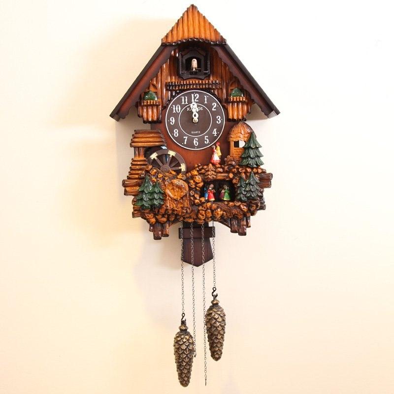 Luxuoso música cuco relógio de parede moda criativa sala de estar sala de crianças presentes de natal