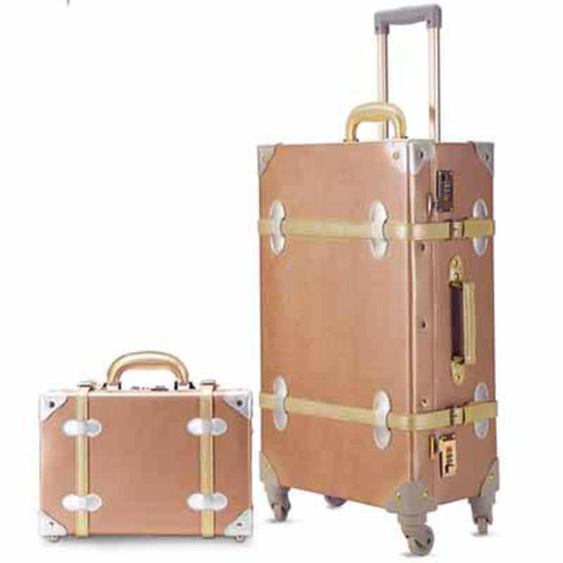 LeTrend Retro 26 pulgadas Spinner Rolling equipaje Set de viaje bolso Trolley mujeres 20/22/24 pulgadas maleta ruedas Vintage cabina maletero