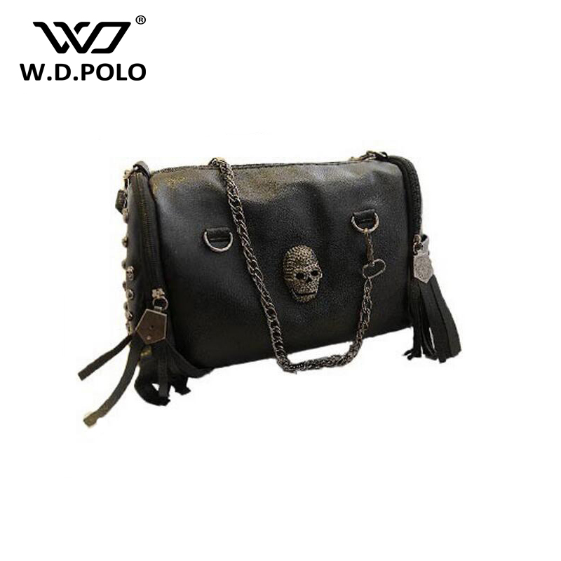WDPOLO 2017 European and American Style Tote Women Handbags Tassel Skull Rivet Chain Bag PU Leather Shoulder Bags Messenger