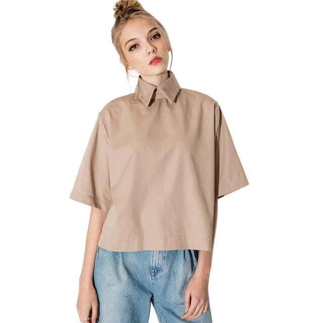 1cc45d699 Vintage British College Style Lapel Loose Blouse Women Fashion Summer Khaki  Short Sleeve Shirt Blusa Top s
