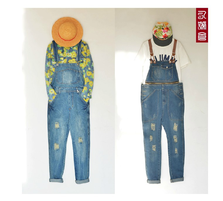 ФОТО 2016 street wear men's fashion casual vintage slim spaghetti strap harem jeans ripped denim jumpsuits overalls