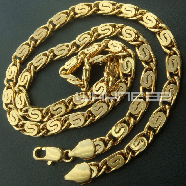 new! Mens Handsome Yellow Gold Filled Link Necklace Jewelry  2 choice Length n228