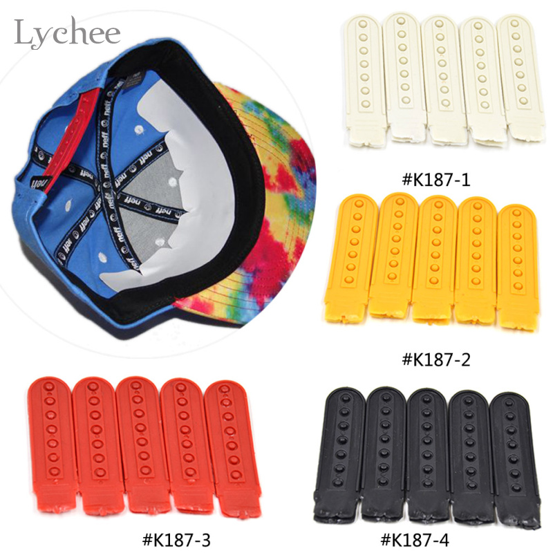 Lychee 5 Pieces Peaked Cap Buckles Seven Holes Breasted Hat Cap Plastic Snap Buckles Men Women Unisex
