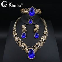 Dubai Wedding Jewelry Sets fashion blue zircon gold-color jewelry sets earrings necklace women African bridal Jewelry Sets 1030 недорого