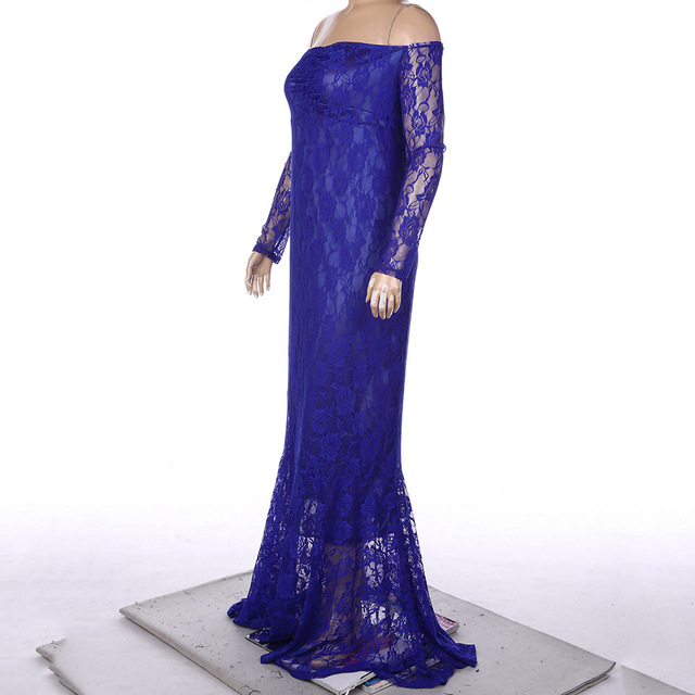 Shoulderless Lace Fancy Sexy Maternity Gown